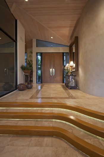 Stairway entry to luxury home