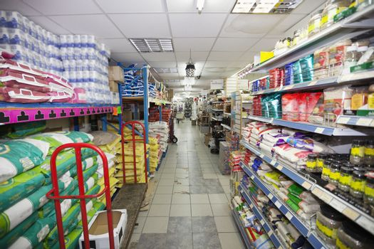 Shopping aisle in supermarket