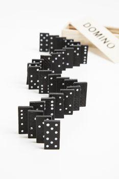 Domino tiles arranged in row