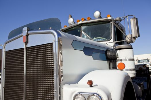 Close up view of industrial truck