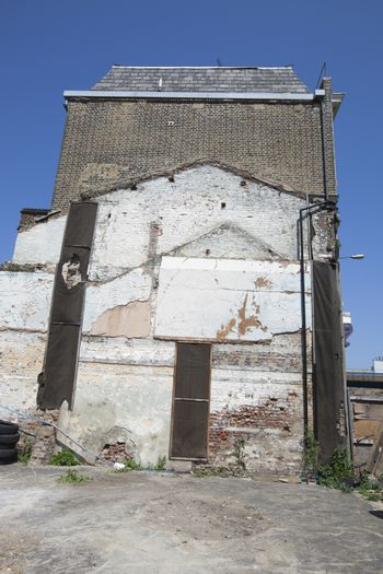 Remaining outline of a building after it was torn down