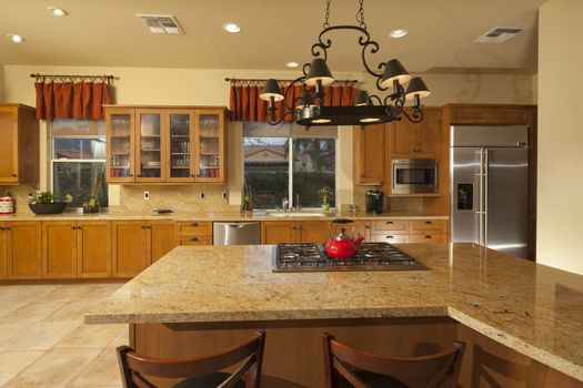 Combined kitchen dining space