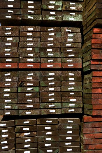 Hardwood stacked in a warehouse
