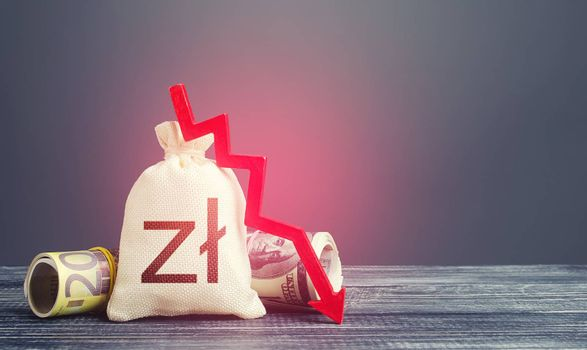 Polish zloty money bag and red down arrow. Economic difficulties fall. Stagnation, recession, declining business activity, falling wealth. Capital flow, high risks. Crisis, loss money savings.