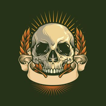 Skull Drawing Anatomy With Ribbon vintage Illustrations for merchandise and tattoo