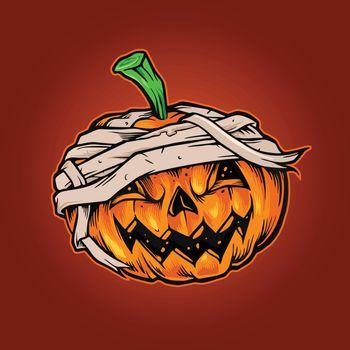Illustrations for Pumpkins Halloween Mascot Horror merchandise and poster