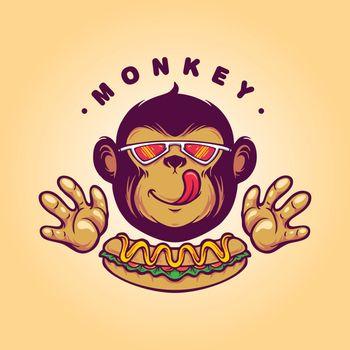 Monkey Logo Hotdog Food for your restaurant business