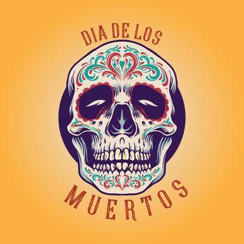 Mexican Sugar skull Dia De Los Muertos Illustrations for merchandise