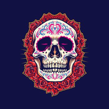 Mexican Skull Logo Mascot with Roses Illustrations for merchandise band and clothing line