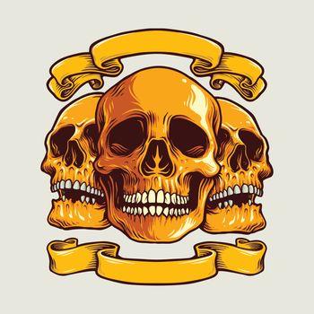 Human Art Skull with Banner Vector Illustrations for merchandise clothing line