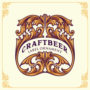 Flourishes beer label design template Vector Ornament