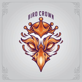 Bird Mascot with crowned Logo Vector for your team and business