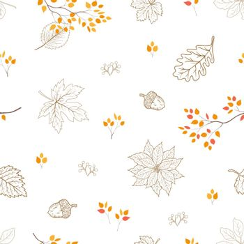 Hand drawn autumn leaves seamless pattern,for decorative,fabric,textile,print or wallpaper,vector illustration