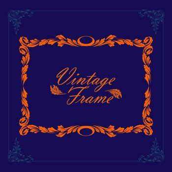 vintage vector border frame engraving frame and background illustration