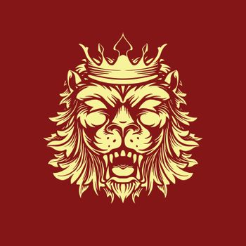 style vector illustration crowned lion creepy
