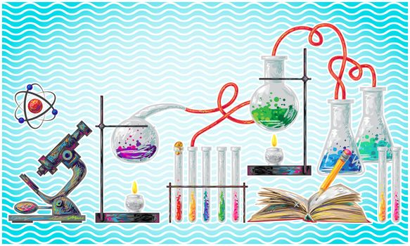 scientific laboratory elements on abstract wave background