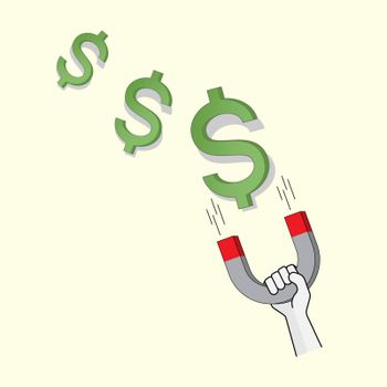 Hand hold horseshoe magnet attracting dollar sign. Attract money. Make money. Vector illustration outline flat design style.