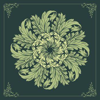 MANDALA ornaments design floral vector green background