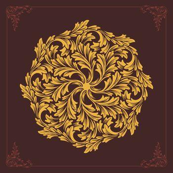 Beatiful Mandala ornaments design flourish vector Gold color for tour elements