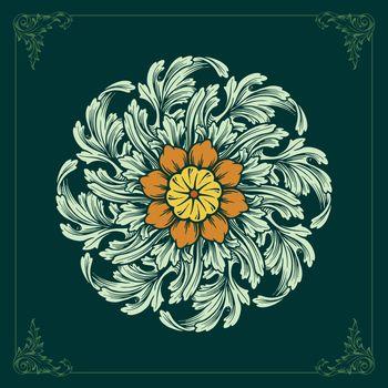 illustration Mandala ornaments design floral vector green color