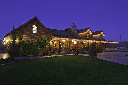 Angular view of ranch home at dusk