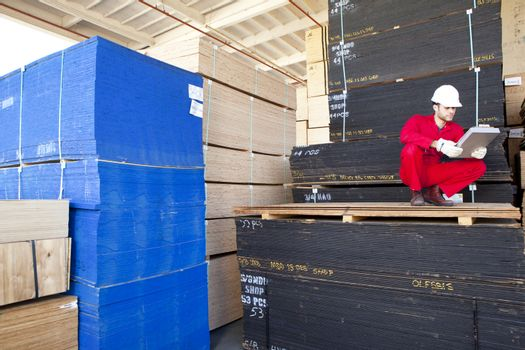 Hispanic worker inspecting tablet PC in timber warehouse