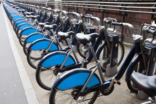 Public Rental Bicycles in a line, London, UK