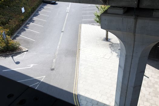 Aerial View of empty car park