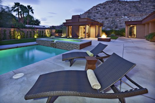 Sun lounges by the pool