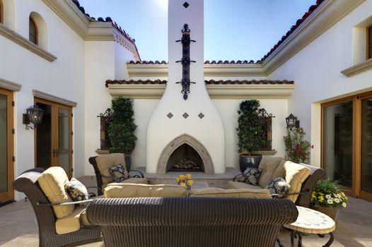 Outdoor dining area in luxury villa