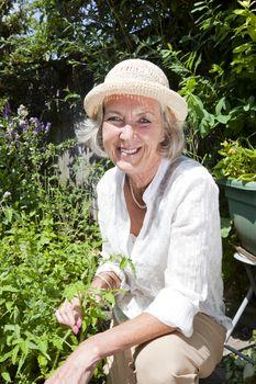 Portrait of happy senior woman gardening in backyard