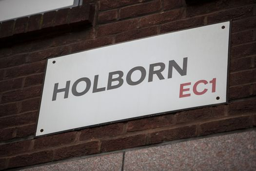 Close-up of Holborn sign