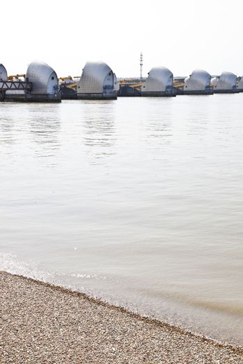 Thames Barrier by pebble beach
