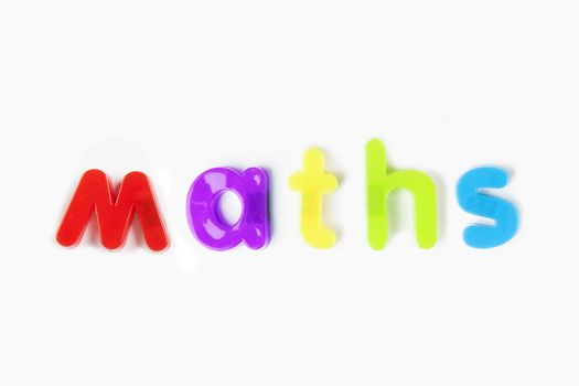 Colorful alphabet magnets spelling 'maths' over white background