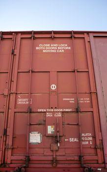 Close up of Industrial railway carriage door