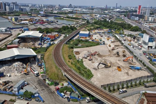 Arial View of Industrial construction and recycling plant