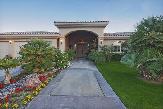 Path leading up to luxury bungalow