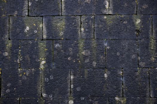 Dark old stone wall with some moss