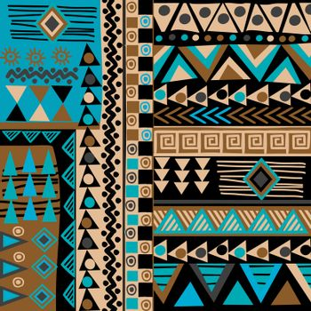 African doodle ethnic texture in blue and brown colors