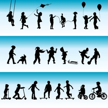 Collection of silhouettes of children playing