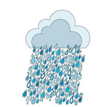 Doodle cloud and rain drops