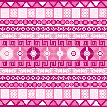 Pink background with ethnic geometrical tribal motifs