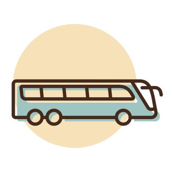 Travel bus flat vector icon. Graph symbol for travel and tourism web site and apps design, logo, app, UI