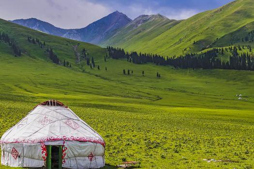 Yurt of the nomadic Kazakhs at Nalati Grassland, Xinjiang, China