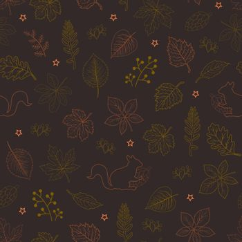 Hand drawn autumn leaves seamless pattern on dark brown background,for decorative,fabric,textile,print or wallpaper,vector illustration