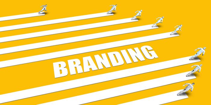 Branding Concept with Business People Running on Yellow