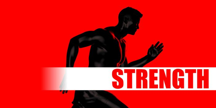 Strength Concept with Fit Man Running Lifestyle