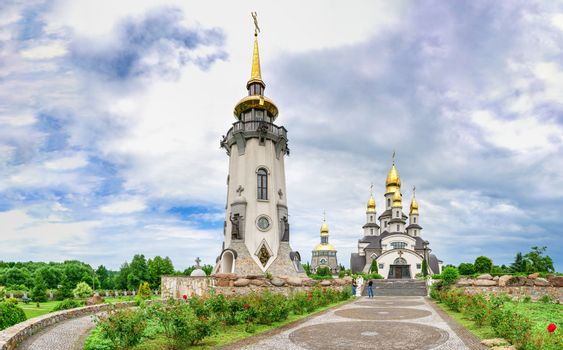 Buki, Ukraine 06.20.2020. Temple Complex with landscape Park in Buki, Ukraine, on a cloudy summer day