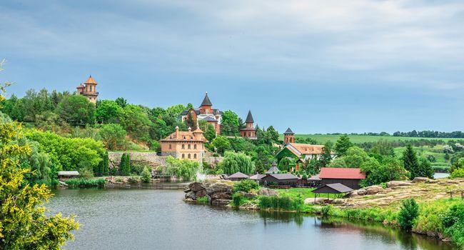 Buki, Ukraine 06.20.2020. Landscape Park and recreational complex in Buki village, Ukraine, on a cloudy summer day