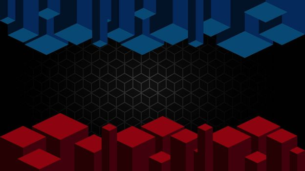 Black abstract mat geometric red and blue background elegant futuristic glossy red and blue light with grid line.Modern shape concept.